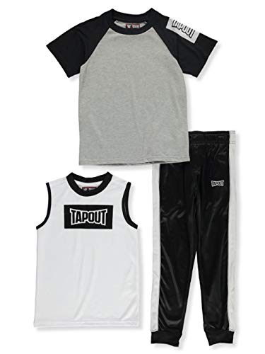 Tapout Little Boys' Box Logo 3-Piece Joggers Set Outfit - midnight, 4