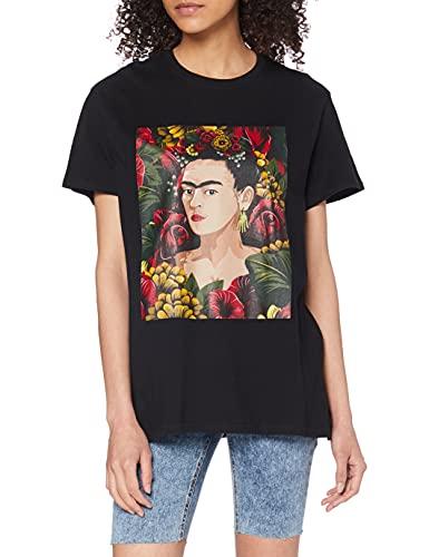 MERCHCODE Ladies Frida Kahlo Portrait tee Camiseta, Black, XL para Mujer