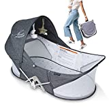 Travel Bassinet, Beberoad NEWMOON Portable Baby Bed, Foldable Frame Design Infant Toddler Sleeper, Outdoor Crib with Mosquito net and Canopy Playpen, Grey Moon