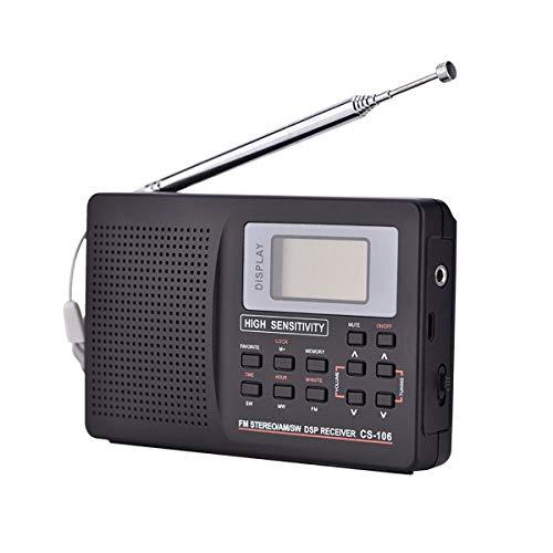 ZUZEN Mini radio FM receptor de radio portátil soporte AM/FM/SW/MW/LW frecuencia completa receptor de radio de apoyo reloj despertador para personas mayores