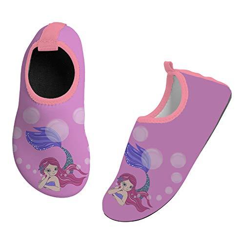 SILITHUS Mermaid Kids Water Shoes Non-Slip Quick Dry Swim Barefoot Beach Aqua Pool Socks for Boys & Girls Toddler 12-12.5 Little Kid