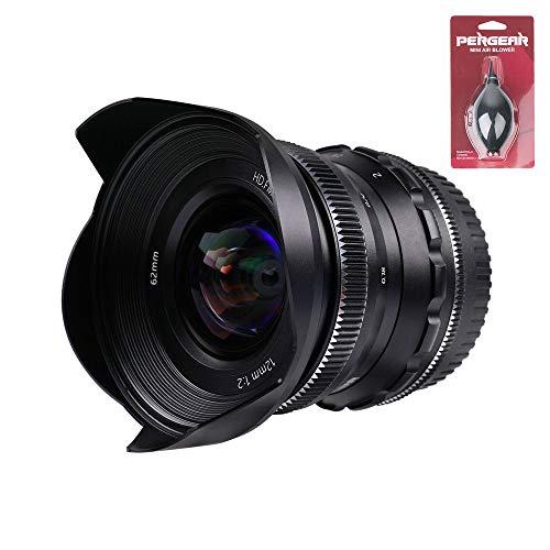 PERGEAR 12mm F2 広角マニュアルフォーカス単焦点レンズ APS-C M4/3マウントカメラ対応 GM1 GM5 GM7 GX1 GX7 GX8 GH1 GH2 GH3 GH5S GF1 GF2 EPM1 EPM2 E-P1 E-P2 E-M1 E-M1II E-M10II E-M10III E-PL1 E-PL2 E-PL3に適用 (Panasonic/Olympus M4/3マウント)