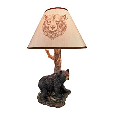 Resin Table Lamps Black Bear And Tree Table Lamp With Shade 20 In. 12.5 X 20 X 12.5 Inches Black