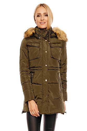 Jayloucy Damen Jacke Parka Mantel Winter Herbst XXL Fell Kapuze Kunstfell Pelz JC5030 Khaki XL