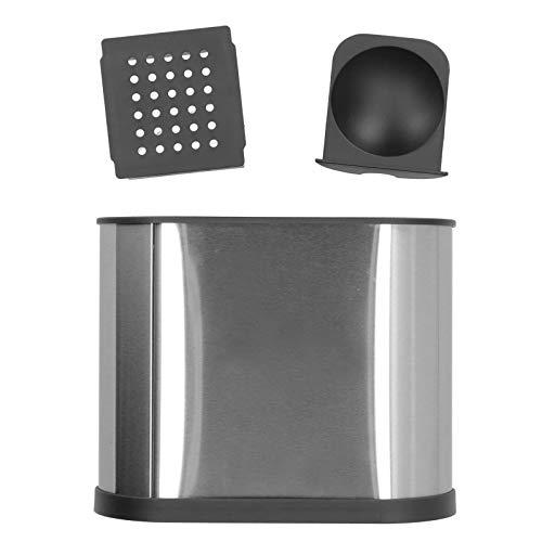 Soporte para utensilios de cocina de acero inoxidable, carrito para utensilios de 3 compartimentos con drenaje extraíble para encimera
