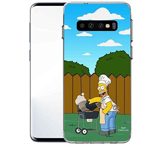 Finoo Handyhülle geeignet für Samsung Galaxy S10 - mit Motiv und Optimalen Schutz Tasche Case Hardcase Cover Schutzhülle - Homer Grill Garten