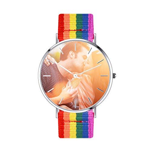 Relojes DIY Imagen Conmemorativa Cinta de Cuero Artificial Falso Verdadero Rojo Pulsera Reloj Moderno Circular Esfera Personalizado de Fotos Textos Nombres Fechas Grabar Tela Malla