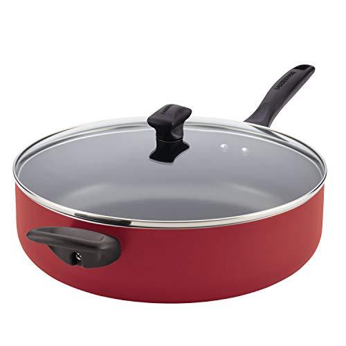 Farberware 21982 Dishwasher Safe Nonstick  Jumbo Cooker/Saute Pan with Helper Handle - 6 Quart, Red