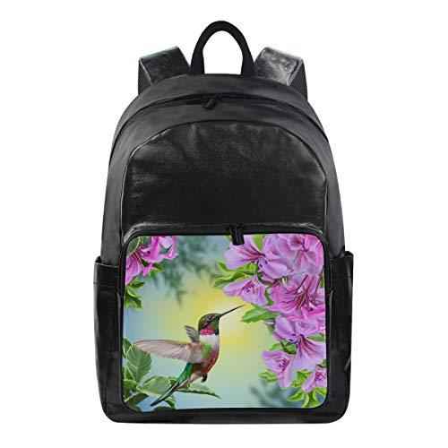 QMIN Rucksack Kolibri Tier Orchidee Blume Fashion Bookbag Wasserdicht Reise College Canvas Daypack Schultertasche Organizer für Jungen Mädchen Damen Herren