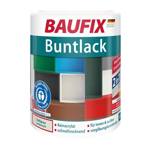 BAUFIX Buntlack hellgrau, 1 Liter, wasserverdünnbarer Buntlack für innen & außen, schnelltrocknend, wetterbeständig, geeignet für Holz, Zink, Beton, Eisen & Mauerwerk, Lack & Haftgr&ierung in einem