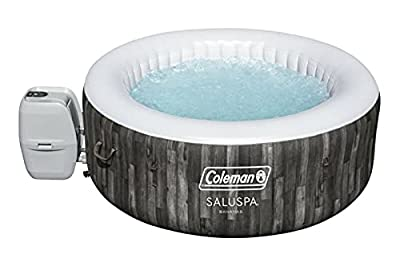 """Coleman SaluSpa 71"""" x 26"""" AirJet Inflatable Hot Tub, 2-4 Person - Bahamas Natural Wood Print"""