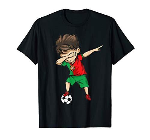 Dabbing Soccer Boy Portugal Jersey Shirt Portuguese Football