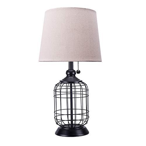 CO-Z Modern Black Birdcage Base Table Lamp, Industrial...