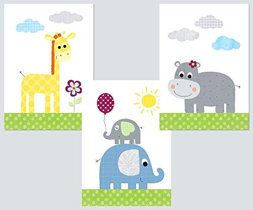LALELU-Prints | A4 Bilder Kinderzimmer Poster | Zauberhafte Dschungel-Tiere bunt | Babyzimmer Deko Junge Mädchen | 3er Set Kinderbilder (DIN A4 ohne Rahmen)