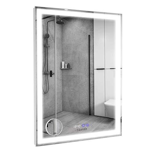Homfa LED Spiegel 60x80cm Wandspiegel Badspiegel Badezimmerspiegel Lichtspiegel mit Beleuchtung 3 Farbtemperatur dimmbare LED Berührung Sensorschalter mit beschlagfrei und Uhr und eine Lupe