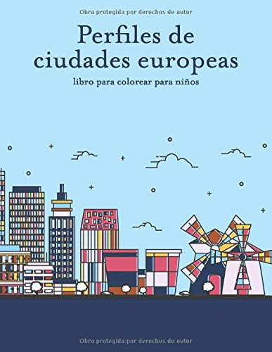 Perfiles de ciudades europeas libro para colorear para niños