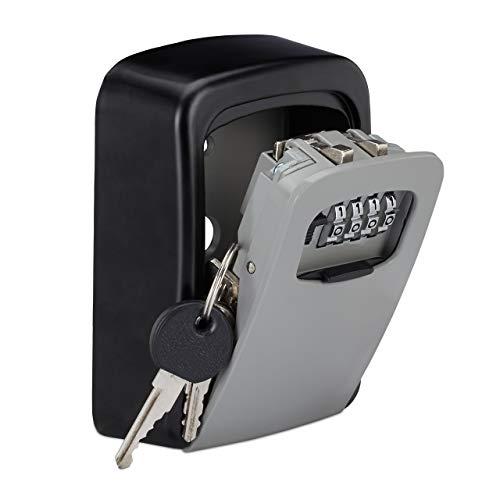 Relaxdays Schlüsseltresor, 4-stelliger Zahlencode, Schlüsselsafe zur Wandmontage, außen, HxBxT 11,5x9x4 cm, schwarz/grau, 1 Stück