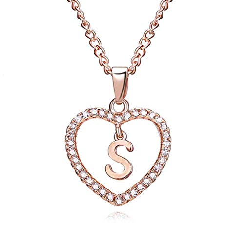 Offerte di liquidazione, Fittingran Collana di Lettera Collana Cuore Strass Collana Cuore Strass Collana Diamanti Collana Personalizzata Cristallo (S)