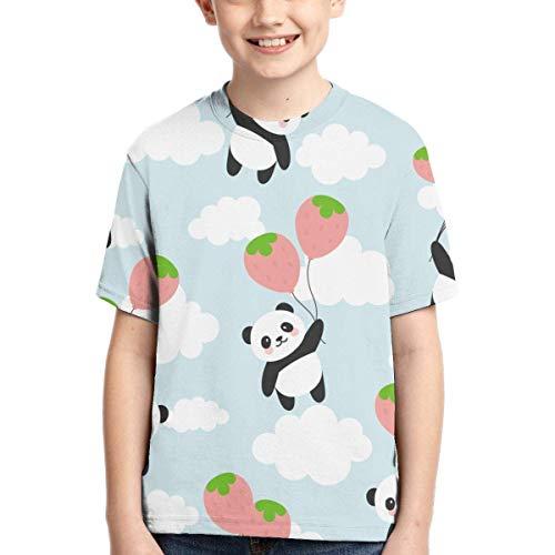 Junge Kurzarm Cute Panda Fliegen mit Erdbeer Ballon Kinder 3D-Druck T-Shirts Kurzarm T-Shirt Sport Baseball Shirt für Jungen