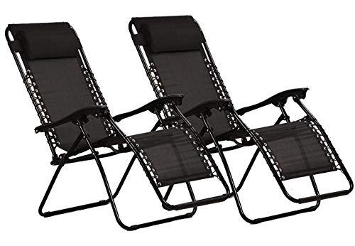KEPLIN Set of 2 Heavy Duty Textoline Zero Gravity Chairs | Garden Outdoor Patio Sun Loungers | Folding Reclining Chairs (BLACK.)