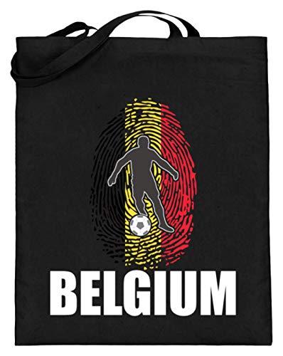 Bolsa de yute de alta calidad (con asas largas) – Camiseta del Mundial de Bélgica de Rusia 2018 para fans de Bélgica, diseño nacional, color Negro, talla 38cm-42cm