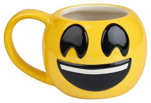 Emoji Die Kaffeetasse kommt mit KCup of Gourmet-Kaffee, 340 ml Emoji-Kaffeetassen, ideal für heißen Kakao, Suppe oder als Bonbonglas, einzigartige Geschenkidee (Smiley)