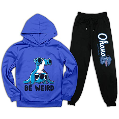 Mipruct Sti&tch Oha&na Boys Girls Pullover Hoodie Rapper Sweatpants Tracksuit Outfit Sweatshirt Character Sports Blue and Black