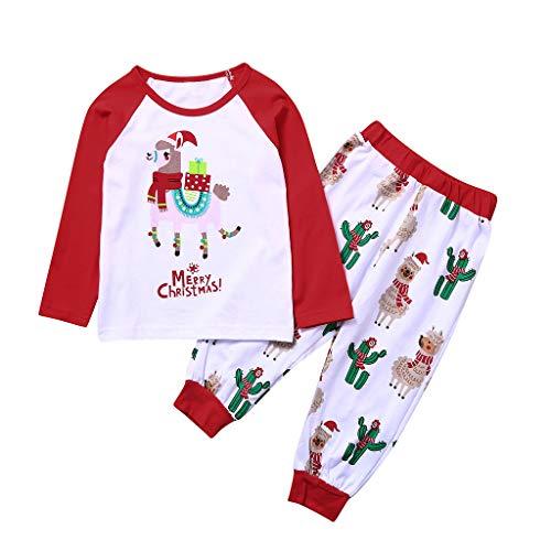 Zhen+ Pyjama Set für die ganze Familie, 2-teiliges Weihnachten Hausanzug Schlafanzug mit Cartoon Alpaka Druck für Damen Herren Kinder - Langarm Shirt und Lang Hosen (2-3 Jahre, Kinder)