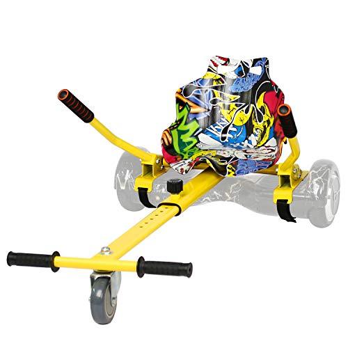 Leogreen Chaise Kart Seat pour électrique Scooter, Hoverboard go Kart Cadre Jaune avec siège Hip-hop Compatible pour Les Planches d'équilibre de 6,5 à 10 Pouces Longueur réglable