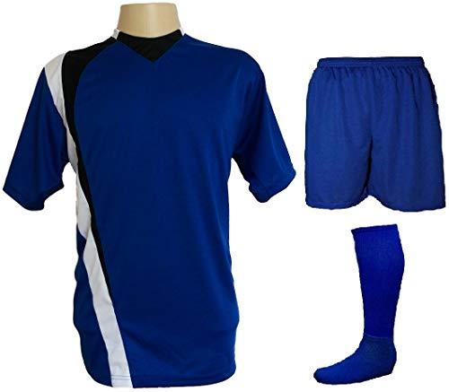 Uniforme Esportivo Completo modelo PSG 14+1 (14 camisas Azul Royal/Preto/Branco + 14 calções Madrid Royal + 14 pares de meiões Royal + 1 conjunto de g