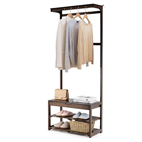 RELAX4LIFE Kleiderständer Bambus, Garderobenständer mit Schuhablage & Sitzbank & 10 Kleiderhaken & 5 Löcher, Wäscheständer rutschfest, für Garderoben & Schlafzimmer & Flur, 210 kg belastbar, braun