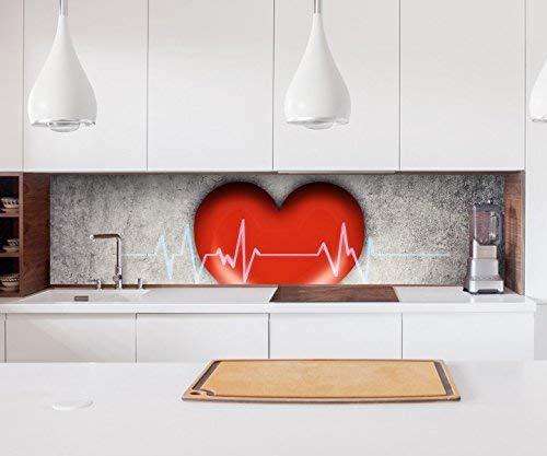 Aufkleber Küchenrückwand Herz Liebe rot Hintergrund Hand Vintage abstrakt Kitchen Küche Folie Fliesen Möbelfolie Spritzschutz 22?1363, Höhe x Länge:60cm x 60cm