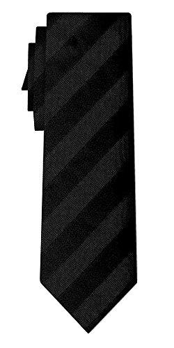Cravate soie unie regular stripe black in black
