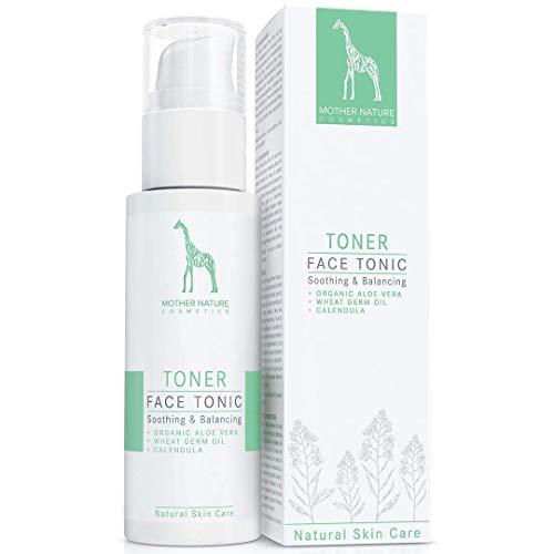 Face Tonic mit Bio-Aloe Vera, Weizenkeimöl und Calendula - NATURKOSMETIK VEGAN - 125 ml von Mother Nature Cosmetics - Gesichtswasser für normale Haut, Mischhaut und unreine Haut