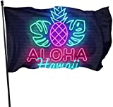 Aloha Neon Schild Aloha Hawaii Design Deko Garten Flaggen Outdoor Kunstfahne für Haus Garten Hofdekoration 3x152 cm
