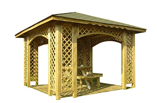 2-DAY PREMIUM SHIPPING AVAILABLE 3m x 3m (Ex 3.5m x 3.5m) GARDEN WOODEN PAVILION GAZEBO PERGOLA TUB WITH TRELLIS