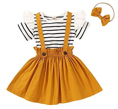 Conjunto de ropa para recién nacido, 3 piezas, camiseta a rayas + falda con tirantes + diadema con arco para niños de 18 a 6 años de edad. amarillo 18-24 Meses