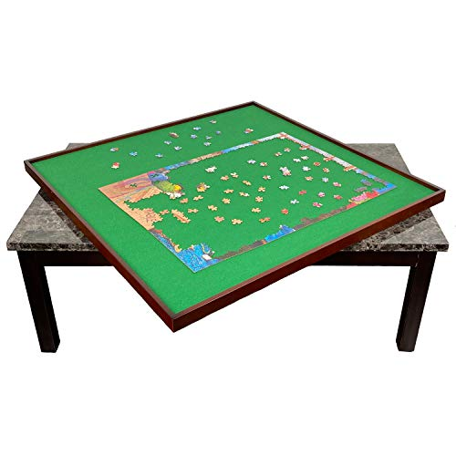 "Mary Maxim Square Jigsaw Puzzle Table Spinner - Puzzle Tables for Adults - Puzzle Board for Storage - Felt Mat 34"" x 34"" - Puzzle Holder & Keeper up to 1500 Pieces - Puzzle Accessories & Organizer"