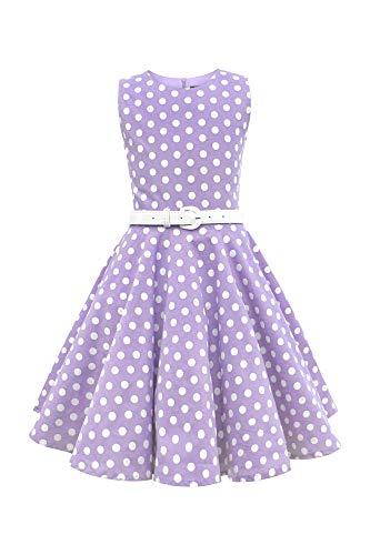 BlackButterfly Kinder 'Audrey' Vintage Polka-Dots Kleid im 50er-J-Stil (Lila, 7-8 J / 122-128)