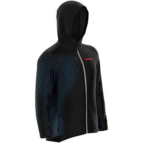 SMMASH Ospro - Chaqueta de running profesional con capucha para hombre y mujer, cortavientos, impermeable, regula el calor, material de secado rápido, fabricada en la UE (XXXL)