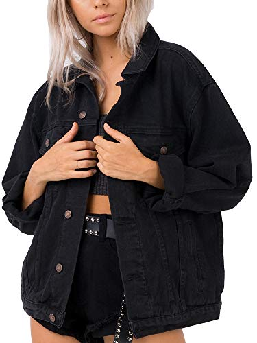 Jean Jacket Women Black Oversized Denim Jacket (M, Black)