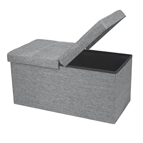 Otto & Ben Folding Toy Box Chest with Smart Lift Top Linen Fabric Ottomans Bench Foot Rest for Bedroom and Living Room, 30x15x15, Light Grey