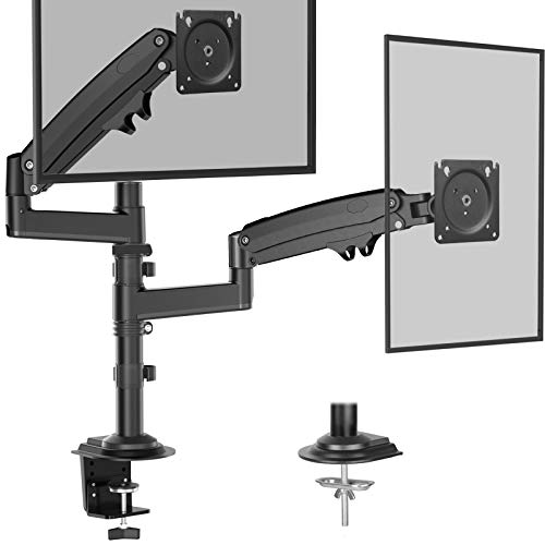Dual Monitor Stand - Gas Spring Adjustment Monitor Desk Mount, Fits Dual 32 Inch Flat Curved Monitor Screen, Hold up to 26.5lbs Per Arm Swivel and Tilt, 75/100mm VESA