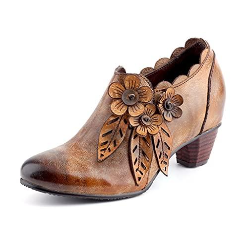 GUOIOOI Botines de Mujer Ronda Vintage Moda Zapatos Individuales Cremallera Lateral Tacón de Bloque Botines Mujer Todos los días Botas (Color : A, Size : EUR35/US4)