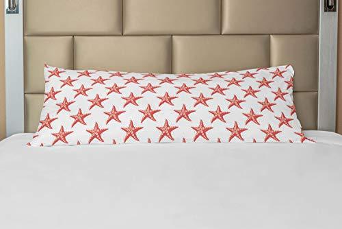 Ambesonne Abstract Art Body Pillow Case Cover with Zipper, Starfish Marine Magic Ocean Creatures Exotic Deep Sea Beach, Decorative Accent Long Pillowcase, 21' x 54', Coral Peach