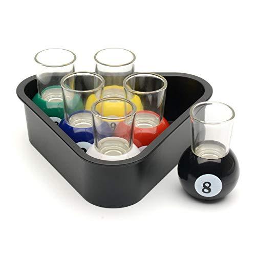 CKB LTD 6 szklanek do kuli basenowych z trójkątnym stojakiem taca do serwowania - stół bilard nowość picie pokój gier dom bar zestaw
