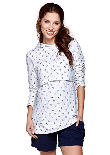 Be! Mama - 2in1 Umstandspullover, Sweatshirt mit Kapuze, Still-Pulli, Modell: Duo, Weiss mit Anker, Größe XL