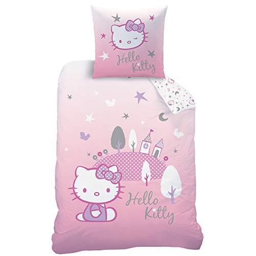 Hello Kitty Sanrio Hill Bettwäsche, Bettbezug, Kopfkissenbezug, Garnitur, 100% Baumwolle Biber, rosa, 135x200 + 80x80 cm