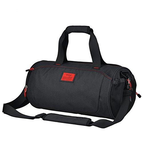 """Fresco nuovo! Mixi Duffel Stile avanti Sport Viaggi Borsa / Gym Bag a tracolla, zip Compartimenti (smoking nero, 18"""")"""