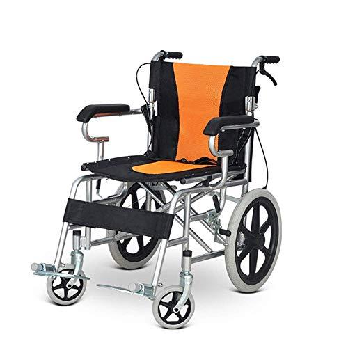 BJYG Leichter zusammenklappbarer Rollstuhl, der medizinische Erwachsene Handbremse fährt Behinderte ältere Personen Rutschfester tragbarer Rollstuhl, Orange, a